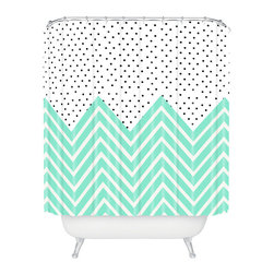 Dainty Dots and Chevron Stripes Shower Curtain - Updating your bath is easy with a new curtain. It's a fun way to bring a little personality into your space. This one mixes small dots and chevron stripes in a cool mint color for a modern pop.