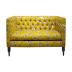 Skyline Furniture MFG. - Vintage Blossom Tufted Settee, Citrine - This tufted settee is a lot like your best friend — adorable, smart and completely unique. Make this sweet seat part of your furniture family for a major hit of sassy style. From its yellow floral print and angular lines to its curvy pine legs, it will liven up your living room and make a great place to dish with your most cherished friend.