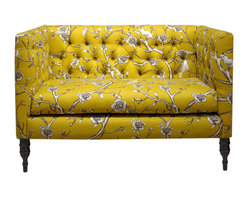 Skyline Furniture MFG. - Tufted Settee in Vintage Blossom Citrine - This tufted settee is a lot like your best friend — adorable, smart and completely unique. Make this sweet seat part of your furniture family for a major hit of sassy style. From its yellow floral print and angular lines to its curvy pine legs, it will liven up your living room and make a great place to dish with your most cherished friend.