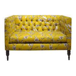 Skyline Furniture MFG. - Tufted Settee, Vintage Blossom Citrine - This tufted settee is a lot like your best friend — adorable, smart and completely unique. Make this sweet seat part of your furniture family for a major hit of sassy style. From its yellow floral print and angular lines to its curvy pine legs, it will liven up your living room and make a great place to dish with your most cherished friend.