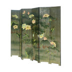 Golden Lotus - Set/ 6 Pieces Chinese Double Sides Green Lotus Painting Room Divider Panel - This is a Chinese traditional room divider panel which is made of solid elm wood.  It has unusual green lotus hand painting on it.