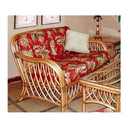 Spice Island Wicker - Wicker Frame Loveseat with Cushions (Antique Floral) - Fabric: Antique FloralBring warmth to a room with this loveseat.  Wicker framing is triple caned and features double reverse bent spindling that adds a unique and appealing design at the sides and apron.  Choice of cushion patterns and colors will customize to your decor.  Your choice of fine fabrics on the luxuriously comfortable cushions supported by an exquisitely beautiful wicker frame in a tasteful cinnamon finish makes this elegantly delicious wicker loveseat something to crow about.  Gorgeous curves and spacious weave configuration gives this piece an appealing design. * Solid Wicker Construction. Cinnamon Finish. For indoor, or covered patio use only. Includes cushions. 58 in. W x 34 in. D x 34 in. H