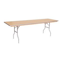PRE Sales - Wooden Banquet Table w Auto Locking Legs - Birch plywood top. Automatic locking legs. Tested lead-free. Top and bottom with polyurethane finish. 3 years limited warranty. 96 in. L x 30 in. W (80 lbs.)