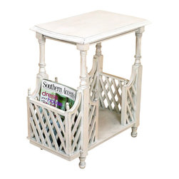 """Distressed White Wood Lattice Table - Distressed White Wood Lattice Table with Magazine Holder Hand made of wood. Hand-finished in a multi-step process 21.25"""" wide/13"""" deep/25"""" tall Weight: 14 pounds 4 ounces."""