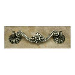 Anne At Home - Corinthia Drop Pull (Set of 10) - Hand cast and finished. Made in the USA. Pewter with brass insert. Collection: Corinthia. 3.75 in. L x 2 in. W x 1 in. H