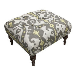 Nate Berkus Marrakesh Graphite Ottoman - I'd like to pair this ottoman with a dark leather chair in my husband's office. The ikat fabric is fun and and not too girly.