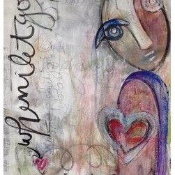 When I Let Go I Am Soulful (Original) by Laurie Maves - From a series of mixed media works on paper, Laurie Maves uses acrylic, india ink, pencil, oil pastel and chalk to express the thoughts and feelings of physicality, spirituality and relationships as image.