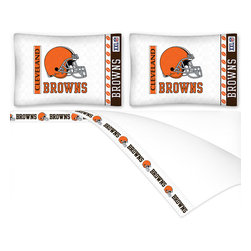 Sports Coverage - NFL Cleveland Browns Football Full Bed Sheet Set - Features: