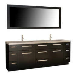 "Design Elements LLC - Moscony 84"" Double Sink Vanity Set in Espresso - The Moscony 84"" double-sink vanity is uniquely constructed of solid hardwood, simple lines, and a dark espresso finish, complemented by a beautiful quartz countertop and rectangular under-mount sinks. Being twice as hard as granite, harder than steel and titanium, and possessing a hardness just below that of gemstones, quartz is an ideal material for countertops. It's hygienic, because bacteria can't penetrate the surface, and practically maintenance-free since no sealing, polishing, or reconditioning is required. Moreover, quartz doesn't stain and is more heat-resistant than other countertop materials.This modern vanity is well equipped with sixpullout drawersand five soft-closing cabinet doors (across the middle of the vanity). A framed matching espresso mirror is also included."