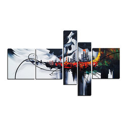 fabuart - Grey Abstract Architecture Painting 5 Panel  - 63 x 33in - This beautiful Art is 100% hand-painted on canvas by one of our professional artists. Our experienced artists start with a blank canvas and paint each and every brushstroke by hand.