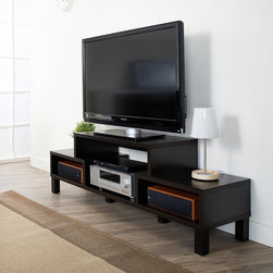 Furniture of America - Furniture of America Baltimore 60-inch TV Console - Showcase your media center with this stylish 60-inch TV console. This attractive TV stand features open shelving areas,perfect for storing movies and video games. The contemporary lines and solid legs give the stand its modern design.