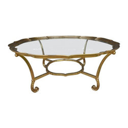 La Barge Brass Scalloped Cocktail Table - Mid-Century modern hollywood regency brass scalloped edge glass cocktail coffee table by La Barge. Rare design! Amazing scrolled legs with pie crust scallop edge and inlaid glass from the bottom. This piece is very solid and heavy. In great vintage condition.