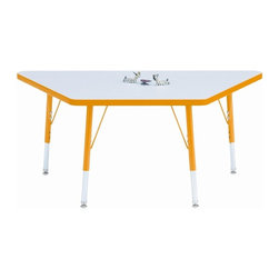 Jonti-Craft - KYDZ Activity Trapezoid Table in Gray and Yellow - Built to offer years of dependable performance, this product features gotta-have-it appeal at the right price. Our kid's activity table includes a unique trapezoid laminate top, your choice of trim and upper leg accent color and cutting-edge engineering for great value.
