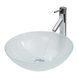 VIGO Industries - VIGO White Frost Vessel Sink and Faucet Set in Chrome - The VIGO White Frost glass vessel sink with Chrome faucet set is stylish and attractive.