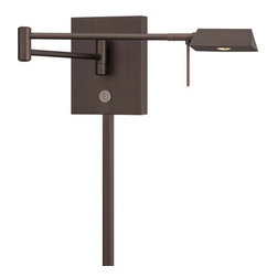 Kovacs - Kovacs P4318-647 LED Swing Arm Wall Sconce - Kovacs P4318-647 LED Swing Arm Wall SconceThe swing arm built in to this versatile and beautiful wall sconce allows it to extend in all directions wherever light is needed from a minimum of 5 inches to 23.5 inches from the wall. The rich Copper Bronze finish and elongated triangular shade makes for a beautiful addition to any room. Whether relaxing with a fine novel or reading an important business document, task lighting provides  the necessary illumination for understanding. This LED swing arm wall lamp is a beautiful and versatile choice for task lighting in the bedroom, living room, study, or home office. Kovacs P4318-647 Features: