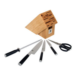 """Shun - Shun Classic 6 Piece Knife Block Set w/Bamboo Block - Containing the three most important knives in any kitchen, plus a high quality pair of shears and a steel, this set is stored in a beautiful bamboo block for a remarkable value. Shun Classic knives are beautifully finished and constructed from only the finest materials: Stainless steel bolsters and buttcaps, Pakkawood resin handles, and VG-10 high-carbon stainless steel. The edge is hardened more than most knives, allowing for an extra sharp edge. The unique qualities of the steel keep the edge sharp without brittleness. The blade is clad with 16 layers of softer steel for durability, then etched to show the unique """"damascus"""" finish. Shun Classic knives combine modern materials with classic design for truly masterful cutlery. This set contains the following items: 3 1/2"""" Paring Knife 6"""" Utility Knife 8"""" Chef's Knife 9"""" Shun Sharpening Steel Taskmaster Shears Bamboo BlockThis Shun Classic 6 piece knife block set includes the following items:"""
