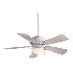 Minka Aire - Supra 44 Ceiling Fan w/Light - Supra 44 inch Ceiling Fan with Light features an Opal diffuser. Comes with Oil Rubbed Bronze finish with Maple blades, Brushed Steel finish with Silver blades, White with White blades, or Brushed Steel with Walnut blades. Supra has a 188mm x 15mm motor, 44 inch blade span and 14 degree blade pitch. Features a three speed pull chain and on/off light pull chain. Manual reverse switch is located on the motor. One 3.5 inch and one 6 inch down rods are included. One 100 watt, 120 volt T4 type Minican halogen bulb is included. UL listed. 44 inch width x 16.5 inch height.
