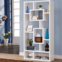 Coaster - Bookshelf, White - This wall unit can be used to dress up any wall with the look of interlocking shelves, which provide storage and displays space in different sized compartments. Finished in white.