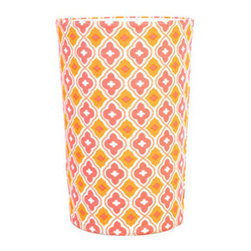 Quatrefoil Wastebasket - What is more spring inspired than a wastebasket covered in tangerine orange and hot pink?