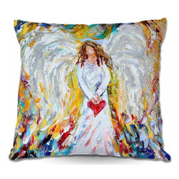 DiaNoche Designs - Pillow Woven Poplin - Angel of My Heart - Toss this decorative pillow on any bed, sofa or chair, and add personality to your chic and stylish decor. Lay your head against your new art and relax! Made of woven Poly-Poplin.  Includes a cushy supportive pillow insert, zipped inside. Dye Sublimation printing adheres the ink to the material for long life and durability. Double Sided Print, Machine Washable, Product may vary slightly from image.