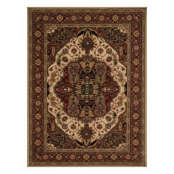 """Loloi Rugs - Loloi Rugs Stanley Collection - Beige / Rust, 5'-2"""" Round - The magnificent Stanley Collection features modern interpretations of the most sophisticated hand knotted designs. Recreated in Egypt with power loomed technology these gorgeous polypropylene area rugs offer an affordable alternative."""
