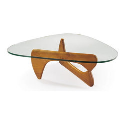 IMPORT LIGHTING & FUNITURE - Noguchi Coffee Table Walnut Base American Maple Finish - This shade of Noguchi Coffee table has a walnut base of American maple finish. This base color being  light and sober suits best the formal settings and looks good with foamed leatherette low back or high back chairs and plays as a great contrast to rooms with comparatively deeper shade of wallpapers. Dark brown vinyl floors, grayish blue wallpapers and white sectionals can make a perfect setting.