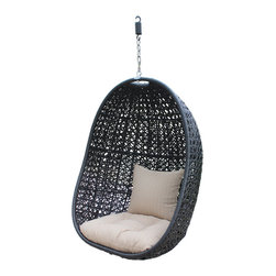 Harmonia Living - Nimbus Outdoor Hanging Basket Chair With Stone Cushions - The Harmonia Living Nimbus Modern Outdoor Hanging Basket Chair with Stone Outdoor Cushions (HL-NMBS-BSKT) is not your typical piece of outdoor furniture. Place this chair almost anywhere to enjoy its relaxing suspension seating. Imagine enjoying coffee, a magazine, or some simple peace and quiet in this unique outdoor chair. Use it instead of a lounge chair to create a patio set unlike anyone else's. Not only does it look great, it was also designed for outdoor durability. The stand is made from powder coated steel, and the basket has a powder coated aluminum frame with high density polyethylene wicker. Those comfy outdoor cushions are made with outdoor grade polyester in a versatile stone color.Set Includes: basket chair and outdoor cushion with back pillow.