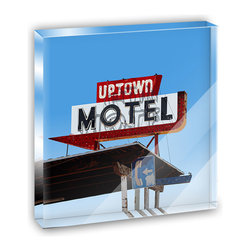 """Made on Terra - Rusty Neon Motel Sign Vintage Arrow Mini Desk Plaque and Paperweight - You glance over at your miniature acrylic plaque and your spirits are instantly lifted. It's just too cute! From it's petite size to the unique design, it's the perfect punctuation for your shelf or desk, depending on where you want to place it at that moment. At this moment, it's standing up on its own, but you know it also looks great flat on a desk as a paper weight. Choose from Made on Terra's many wonderful acrylic decorations. Measures approximately 4"""" width x 4"""" in length x 1/2"""" in depth. Made of acrylic. Artwork is printed on the back for a cool effect. Self-standing."""