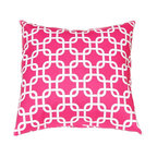 Festive Home Decor Gotcha Candy Pink Pillow Cover - Summer is all about bringing in a punch of color! This Moroccan print pillow makes a splash in a hot pink and white geometric chain link pattern. Place it on your patio chair to add some color to your day.