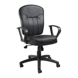 "Boss Chairs - Boss Chairs Boss Black Leather Task Chair with Loop Arms - Contoured back and seat help to relieve back-strain. Pneumatic gas lift seat height adjustment. Large 27"" nylon base for greater stability. Hooded double wheel casters. Strong 20"" diameter chrome foot ring. Available in four fabric colors. Optional glides can be used in place of casters (TU021)."