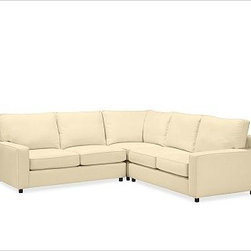 """PB Comfort Square Arm Upholstered Sectional 3-Piece L-Shaped Corner w/ Knife Edg - Built by our own master upholsterers in the heart of North Carolina, our PB Comfort Square Upholstered sectional is designed for unparalleled comfort with deep seats and three layers of padding. 107.5"""" w x 107.5"""" d x 42"""" d x 39"""" h {{link path='pages/popups/PB-FG-Comfort-Square-Arm-4.html' class='popup' width='720' height='800'}}View the dimension diagram for more information{{/link}}. {{link path='pages/popups/PB-FG-Comfort-Square-Arm-6.html' class='popup' width='720' height='800'}}The fit & measuring guide should be read prior to placing your order{{/link}}. Choose polyester wrapped cushions for a tailored and neat look, or down-blend for a casual and relaxed look. Choice of knife-edged or box-style back cushions. Proudly made in America, {{link path='/stylehouse/videos/videos/pbq_v36_rel.html?cm_sp=Video_PIP-_-PBQUALITY-_-SUTTER_STREET' class='popup' width='950' height='300'}}view video{{/link}}. For shipping and return information, click on the shipping tab. When making your selection, see the Quick Ship and Special Order fabrics below. {{link path='pages/popups/PB-FG-Comfort-Square-Arm-7.html' class='popup' width='720' height='800'}} Additional fabrics not shown below can be seen here{{/link}}. Please call 1.888.779.5176 to place your order for these additional fabrics."""