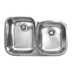"""Ukinox - Ukinox D376.60.40.10L Undermount Double Bowl Stainless Steel Kitchen Sink, Left - Ukinox sinks seamlessly blend superior functionality with a beautifully modern design. In addition to our European-style, high-polished finish, Ukinox classic double sinks are made with a three-piece construction process providing you with a beautiful, yet sturdy sink that will be the highlight of your kitchen for years. The formal rectangular bowls are both large and deep, while space conscious at the same time. The large bowl is installed on the left side. Features: Premium double bowl stainless steel kitchen sink. Fine quality sink bowl formed of 18 gauge Type 304 18/10 nickel bearing stainless steel. Sound absorbing pads and special paint applied to the underside of the sink to dampen sound. Made in Europe. Sinks include all basket strainers, mounting hardware and cut-out template. Standard 3-1/2"""" drain opening compatible with most garbage disposal systems. Large bowl available on the left or right.  Specifications: Total Product Length: 31.5 in. Total Product Width: 20.5 in. Large Basin Depth: 10 in. Small Basin Depth: 8 in. Sink Gauge: 18. Product Weight: 16 lbs. Material: Stainless Steel. Installation Type: Undermount. Number of Basins: 60/40 Double Basin. cUPC Certified?: Yes."""