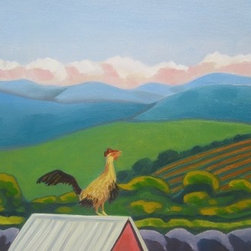 Rejoice (Original) by Sharon Guy - I saw a rooster hop onto his tin roof and crow, and this is my painting of that memory.  Unframed, sides are painted and it is ready to hang.