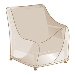 Frontgate - Modular Chair Cover - Made of heavy-duty, 600 denier polyester. Lined with a layer of waterproof PVC. Soft fleece underside protects aluminum frames. 500 hour UV tested. Won't fade in the hottest sun, or crack in temperatures dropping to 0°F. We've re-engineered our best-selling premium furniture covers to provide an unparalleled level of protection for your outdoor furnishings. Designed with meticulous detail, these durable three-ply covers boast 600-denier polyester outer shell and a layer of waterproof PVC to ensure superior performance and long-lasting functionality in searing sun, blinding rain, prodigious snow, and bitter cold. Find the right cover with our Furniture Matching Guide .  .   Won't fade in the hottest sun, or crack in temperatures dropping to 0 degreesF. Double-stitched seams (6 stitches per inch). Elastic edging, drawstrings, or reinforced ties hold covers securely in place. Built-in mesh vents with protective flaps help circulate air and keep water and mildew from reaching inside. Deep seating and chaise covers include an embroidered Frontgate logo . Learn how to measure your furniture with our Measuring Guide to ensure a proper fit. Easy to care for. Imported.