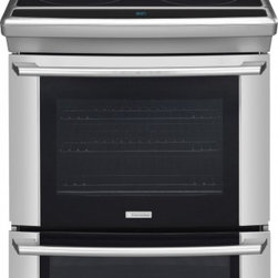"""Electrolux - Wave-Touch Series EW30ES65GS 30"""" Slide-In Electric Range With 5 Radiant Elements - Bake lasagna while simultaneously baking a pie with this range39s spacious Sure-2-Fit 42 cu ft upper oven and 14 cu ft lower oven The Perfect Turkey function makes it easy to prepare delicious turkey with the touch of a button"""