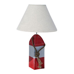 Beachcomber Trading Company - Buoy Lamp, Red/White/Red - Shop Decorative Nautical Buoy Lamps at Coastal Style Gifts!
