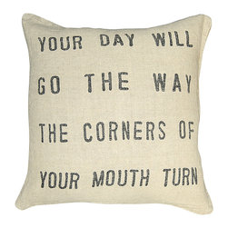 """Kathy Kuo Home - Your Day Will Go The Way The Corners of Your Mouth Turn' Down Linen Throw Pillow - Someone once said, """"Smile and the world smiles with you."""" Here's a way to add some positive energy (and soft style) to your sofa, bed or bench. Plush and poetic, this 24 inch square pillow is made of linen and filled with down."""