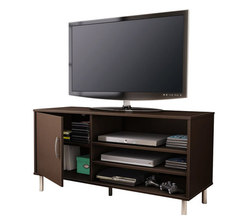 South Shore - South Shore Renta TV Stand with Door in Chocolate - South Shore - TV Stands - 4519676 - An affordable choice: The combination of closed and open storage spaces in this modern-design TV stand from the Renta collection makes it a highly functional piece. Its simple lines and metallic touches make for a contemporary style that goes well in any