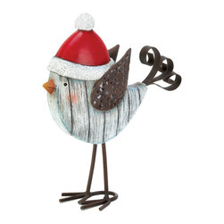KOOLEKOO - Snowbird With Winter Hat Figurine - This little birdie has forgone flying south this winter, and we couldnt be happier that he stayed. This metal standing dcor will delight you all season long with his decorative wings, rosy cheeks and bright red hat. His body is finished to look like whitewashed boards, adding tons of charm, and his curled tail is a treat.