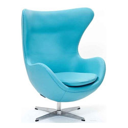 Modway - Glove Chair In Baby Blue Aniline Leather - Eei-528-Bbl - High Density Foam Cushioning
