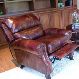Elements Fine Home Furnishings - Hemingway Top Grain Leather Reclining Chair - H - Upholstered in redwood top grain leather