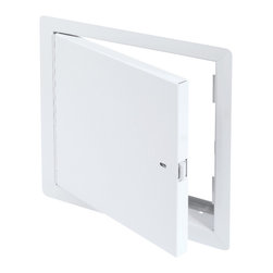 """Best Access Doors - Fire Rated Un-Insulated Access Door with Flange, High Quality White Powder Coat, - 8"""" x 8"""" - Fire Rated Un-Insulated Access Door with Flange.  The BA-PFN Wall access Hatch is not insulated and can only be used on fire rated walls. It comes with a 1""""   flange for an easy flush installation on any type of surface material. As per UL standards, once the installation is complete and the provided springs installed, this door will be self closing and self locking. It should not be used in situations where protection against temperature elevation is required. The largest fire rated PFN door available is: (36""""   x 36""""  ).     BA-PFN fire rated access door specifications,  Submittal Sheet - Material: 16 gauge cold rolled steel frame and 20 gauge galvanneal steel door Hinge: Continuous piano hinge Lock / latch: Self latching tool-key operated slam latch and/or ring operated slam latch, both included Inside panel release: Included on all slam latch fire doors Automatic panel closer: Standard on all doors Finish: DuPont high quality white powder coat Packaging:   For installation in  vertical wall assemblies only.  2 hour fire barrier, rating 1 frac12  hours. Access/Door Frame Assembly (uninsulated) for installation in vertical wall assemblies. Maximum door size of: 36"""" x 36"""". Standards listed: NFPA 252-2003, UL 10b, UL-555, CAN/ULC S112 M90-R2001, CAN/ULC S104-10.  MEA # 507-06-M Fire rated by  Intertek - Warnock Hersey"""