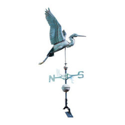 Verdigris Copper Heron Weathervane - No, it's not a stork - it's a beautiful Verdigris Copper Heron Weathervane!  It will tell you which way the wind blows with its beak, pointing in the direction of the air current.  Verdigris Copper is pre-antiqued aging solution with a blue-green hue.  Put this weathervane on top of a seaside bungalow, a vacation home, or anywhere you wish to convey an air of the coast.
