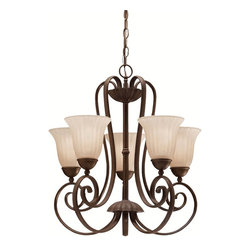 BUILDER - BUILDER Traditional Chandelier X-ZT7281 - This Kichler Lighting chandelier is classic and graceful with warm finishes and fluid curves. Each of the five arms feature large, beautiful scrolls that are complimented by a rich and earthy Tannery Bronze finish. It also features elegant, floral-like inverted glass shades that help create a softened but ample illumination for any room.