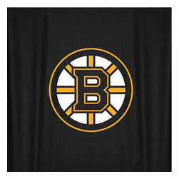 Sports Coverage - NHL Boston Bruins Hockey Locker Room Shower Curtain - Features: