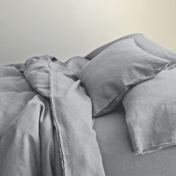 Eileen Fisher - Eileen Fisher Washed Linen Sham - Continental - Stone Gray Chambray - This airy, soft pure linen bedding by Eileen Fisher feels wonderful year-round and only gets better over time. Picot detailing and raw-edge double fringe on pillowcases and flat sheet. Eileen Fisher Home exclusively by Garnet Hill.