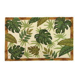 Homefires - Tropical Foliage Rug - Turn your home into a tropical island oasis with a tropical foliage themed rug. Machine washable with the characteristics of wool, this rug adds an air of relaxation to whatever room you need it in.