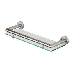 Geesa - 14 Inch Clear Glass Bathroom Shelf Holder - Shelf holder 13.65 inch.