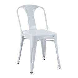 """LexMod - Promenade Dining Side Chair in White - Promenade Dining Side Chair in White - A striking dash of flair accompanies the Reception Modern Dining Chair. The sloping electric-plated metal design recalibrates your room for style as you lean back with dilettante flair. Tilted to perfection, and supported by sleek and sturdy legs, grab your newspaper or beverage of choice and begin each moment anew. Set Includes: One - Promenade Modern Dining Chair Modern Dining Chair, Electric-Plated Metal, No Assembly Required, Non-Marking Feet Caps Overall Product Dimensions: 25""""L x 19""""W x 45.5""""H - Mid Century Modern Furniture."""