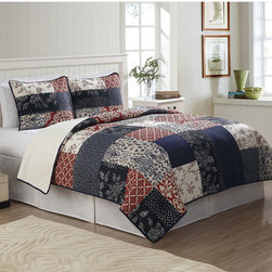 None - Whitefield Quilt 3-piece Set - The Whitefield 3-piece quilt set is made of beautiful 100-percent cotton hand crafted patchwork. This quilt has been pre-washed for a heirloom feel and soft texture.